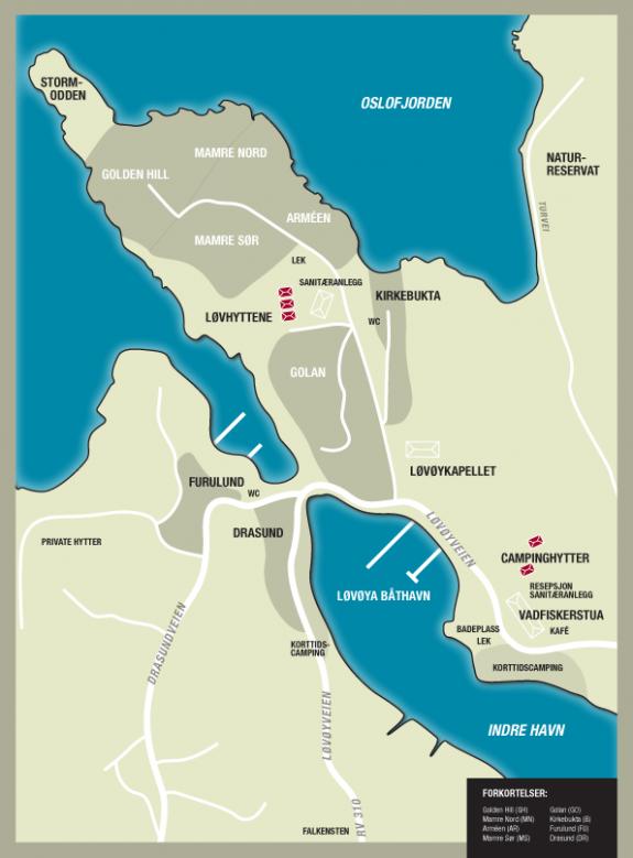 Plasskart over Løvøya